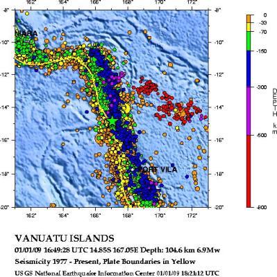 История сейсмичности островов Вануату
