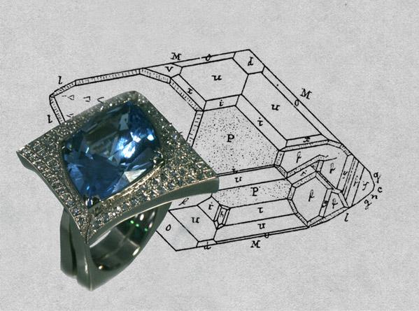 """Перстень с топазом и бриллиантами из белого золота. Ювелирная фирма """"Анастасия"""", г.Санкт-Петербург."""
