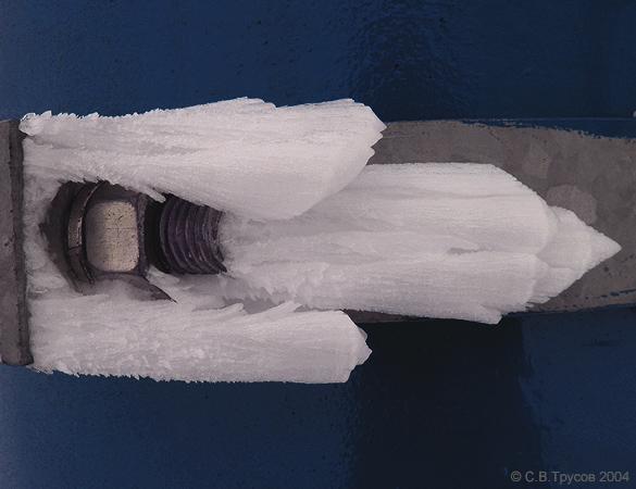 Рост кристаллов льда на ветру