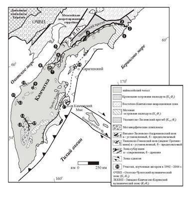 Рис. 2. Схема тектонического строения Камчатки и юга Корякии (по Тильман, Богданов, 1992; Шапиро, 1995; Объяснительная записка , 2000; с изменениями автора).