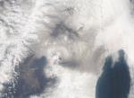 Космоснимок извержения Безымянного вулкана