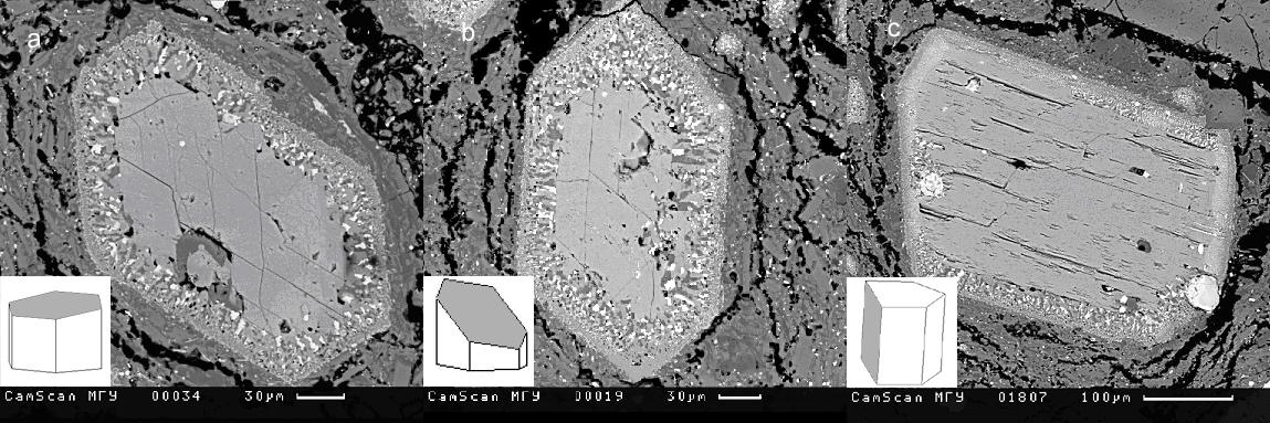 Различные сечения зерен роговой обманки и их кристаллографическая ориентировка