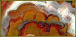 Формы совместного одновременного роста включений гётита и гематита с халцедоном в агате.Монголия. Copyright(c)В.Слётов,2005.