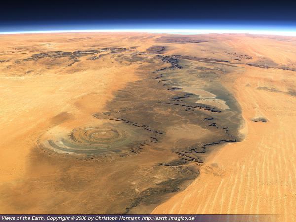 Кольцевая структура Ричат, пустыня Сахара, Мавритания.