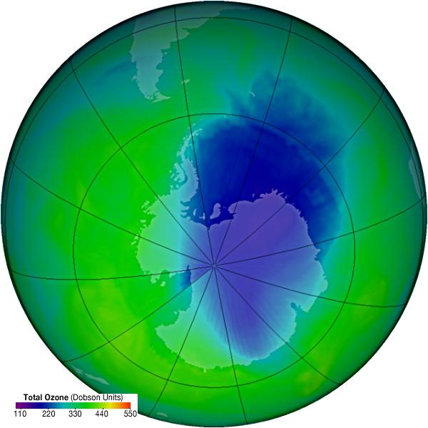 Компьютерная визуализация мощности озонового слоя на 25 ноября 2007 г.