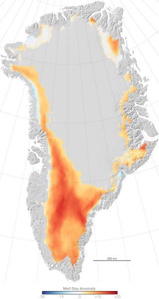 Таянье ледяного покрова Гренландии в 2007 г.