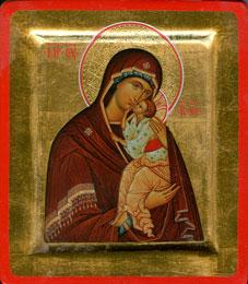 Икона Божией Матери Умиление. Написана минеральными пигментами